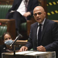 Britain's Health Secretary Sajid Javid updates MPs on the governments coronavirus plans, in the House of Commons, London, Monday, July 5, 2021 (Jessica Taylor/UK Parliament via AP)