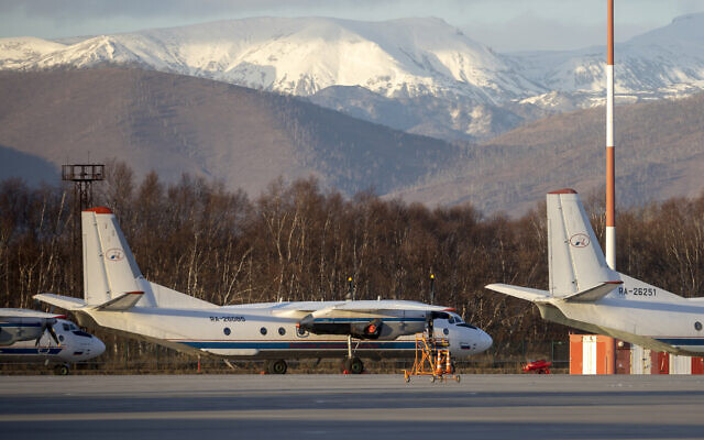 The Antonov An-26 with the same board number #RA-26085 as the missed plane is parked at Airport Elizovo outside Petropavlovsk-Kamchatsky, Russia, November 17, 2020. (AP Photo/Marina Lystseva)