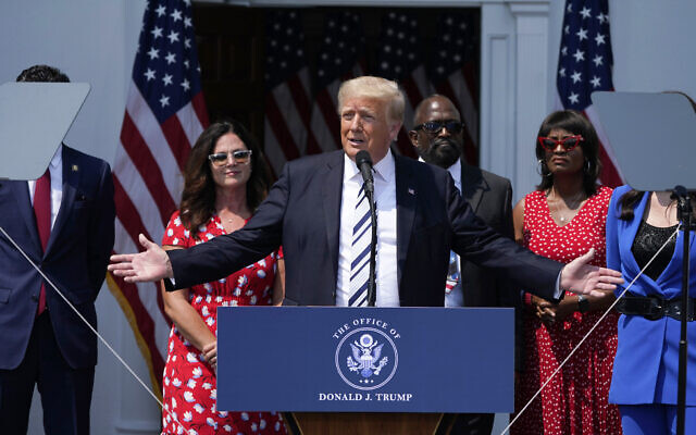 Former US president Donald Trump speaks at Trump National Golf Club in Bedminster, New Jersey, July 7, 2021. (AP Photo/Seth Wenig)