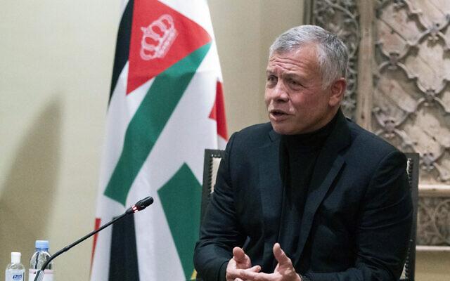 Jordan's King Abdullah II speaks at Bayt Al Urdon in Amman, Jordan on May 26, 2021. (AP Photo/Alex Brandon, Pool)
