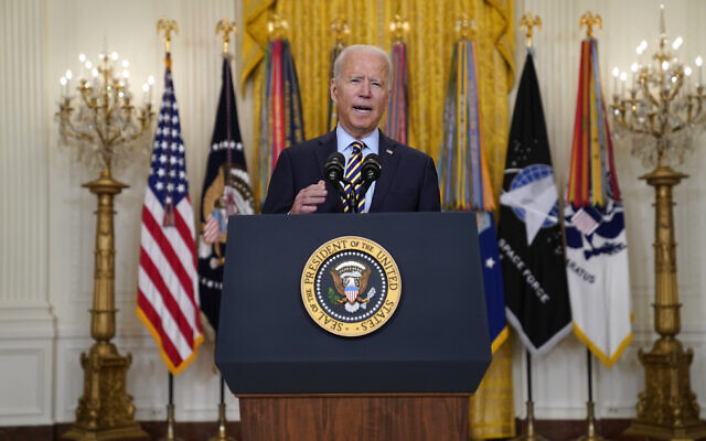 US President Joe Biden speaks about the American troop withdrawal from Afghanistan, in the East Room of the White House, on July 8, 2021, in Washington. (AP Photo/Evan Vucci)