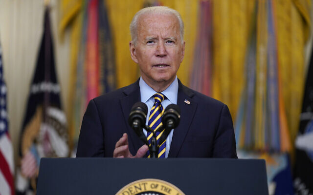 President Joe Biden speaks about the American troop withdrawal from Afghanistan, in the East Room of the White House, July 8, 2021, in Washington. (AP Photo/Evan Vucci)