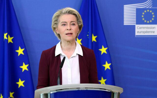 European Commission President Ursula von der Leyen speaks during a media conference at EU headquarters in Brussels, on July 10, 2021. (Francois Walschaerts/Pool Photo via AP)
