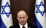 Prime Minister Naftali Bennett chairs the weekly cabinet meeting, in Jerusalem, July 11, 2021. (Ronen Zvulun/Pool via AP)