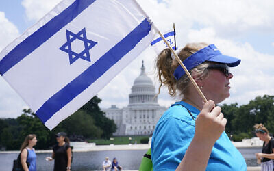 A woman attends the 'NO FEAR: Rally in Solidarity with the Jewish People' event at Capitol Hill in Washington, July 11, 2021. (Susan Walsh/AP)