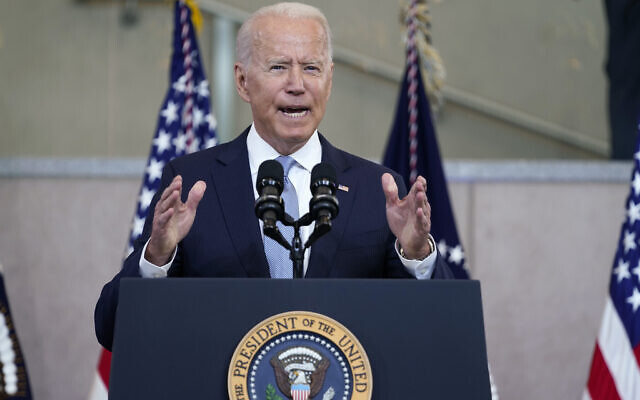 US President Joe Biden delivers a speech on voting rights at the National Constitution Center, Tuesday, July 13, 2021, in Philadelphia. (AP Photo/Evan Vucci)