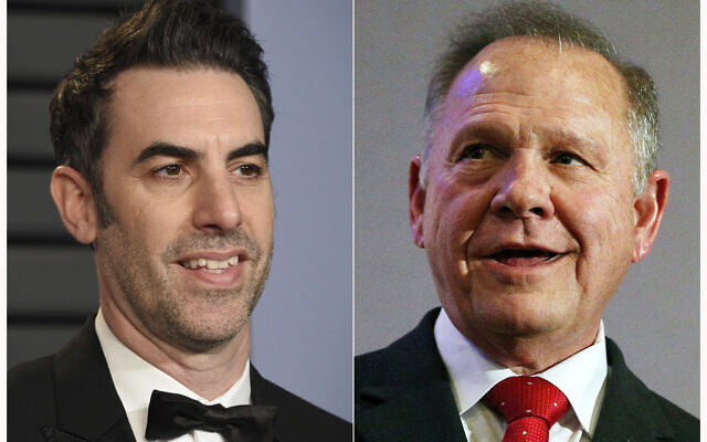 This combination of file photos shows actor-comedian Sacha Baron Cohen at the Vanity Fair Oscar Party in Beverly Hills, Calif. on March 4, 2018, left, and former Alabama Chief Justice and then U.S. Senate candidate Roy Moore at a news conference in Birmingham, Ala., on Nov. 16, 2017. A federal judge on Tuesday, July 3, 2021, dismissed failed U.S. Senate candidate Roy Moore's $95 million lawsuit targeting comedian Sacha Baron Cohen filed after Moore complained he was tricked into an interview that lampooned sexual misconduct accusations against him.  (AP Photo/File)
