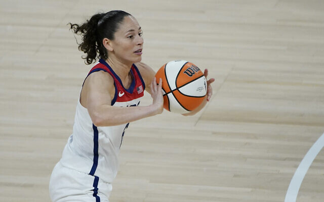 Team USA's Sue Bird plays against Team WNBA during the second half of the WNBA All-Star basketball game, July 14, 2021, in Las Vegas. (AP Photo/John Locher)