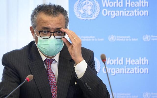 Tedros Adhanom Ghebreyesus, Director General of the World Health Organization (WHO), speaks at the WHO headquarters, in Geneva, Switzerland, May 24, 2021. (Laurent Gillieron/Keystone via AP, File)
