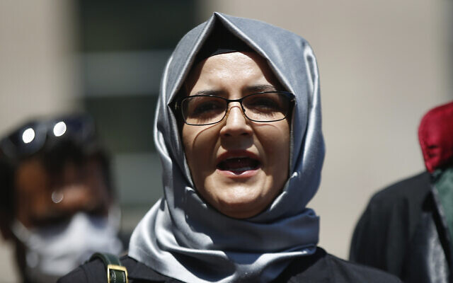 In this July 3, 2020, file photo, Hatice Cengiz, the fiancee of slain Saudi journalist Jamal Khashoggi, talks to members of the media in Istanbul. Amnesty International reported that its forensic researchers had determined that NSO Group's flagship Pegasus spyware was successfully installed on the phone of Cengiz, just four days after Khashoggi was killed. (AP Photo/Emrah Gurel, File)