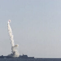 In this photo taken from video distributed by Russian Defense Ministry Press Service, a new Zircon hypersonic cruise missile is launched by the frigate Admiral Gorshkov of the Russian navy from the White Sea, in the north of Russia, July 19, 2021 (Russian Defense Ministry Press Service via AP)