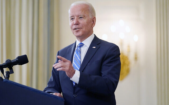 US President Joe Biden speaks about the economy and his infrastructure agenda in the State Dining Room of the White House, in Washington, July 19, 2021. (AP/Andrew Harnik)