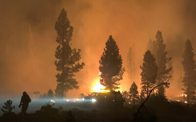 The Bootleg Fire burns at night in southern Oregon, July 17, 2021. (Bootleg Fire Incident Command via AP)