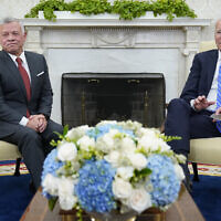 President Joe Biden, right, meets with Jordan's King Abdullah II, left, in the Oval Office of the White House in Washington, July 19, 2021. (AP Photo/Susan Walsh)