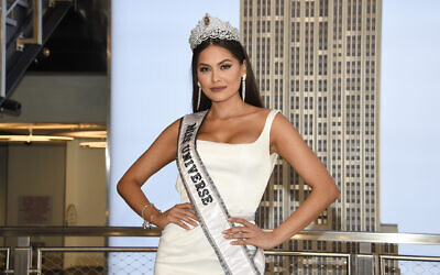 Reigning Miss Universe, Andrea Meza of Mexico, poses for the media during her visit to the Empire State Building on May 18, 2021, in New York. (Photo by Evan Agostini/Invision/AP, File)