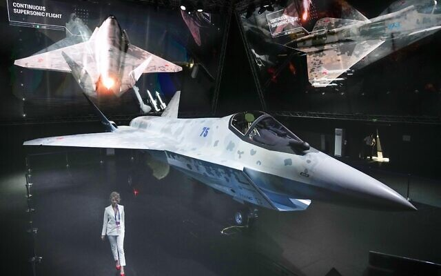 A prototype of Russia's prospective fighter jet is displayed at the MAKS-2021 International Aviation and Space Salon in Zhukovsky outside Zhukovsky, Russia, July 20, 2021. (AP/Alexander Zemlianichenko, Pool)