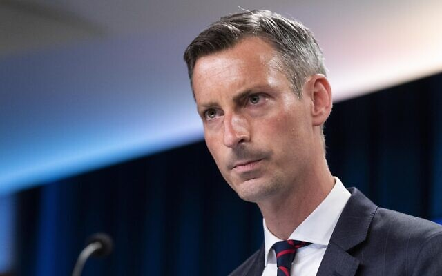 US State Department spokesperson Ned Price pauses while speaking during a media briefing at the State Department in Washington, July 7, 2021. (AP Photo/Alex Brandon, File)