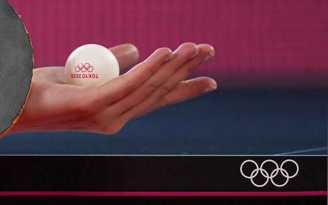 Christina Kallberg, of Sweden serves the ball during a table tennis training session at the 2020 Summer Olympics, Friday, July 23, 2021, in Tokyo. (AP Photo/Kin Cheung)
