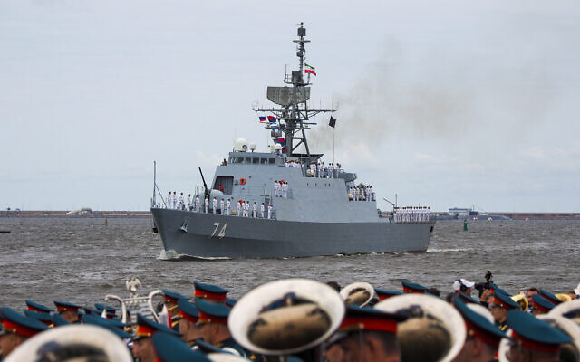 Iranian frigate 'Sahand' of the Southern Fleet of the Islamic Republic of Iran Navy takes part in the military parade during celebrations for Navy Day, in Kronshtadt outside St.Petersburg, Russia, July 25, 2021. (AP Photo)