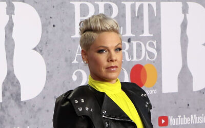 Singer Pink poses for photographers upon arrival at the Brit Awards in London, February 20, 2019. (Vianney Le Caer/Invision/AP, File)