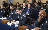 US Capitol Police Sgt. Aquilino Gonell, from left, Washington Metropolitan Police Department officer Michael Fanone, Washington Metropolitan Police Department officer Daniel Hodges and US Capitol Police Sgt. Harry Dunn testify before the House select committee hearing on the Jan. 6 attack on Capitol Hill in Washington, on Tuesday, July 27, 2021. (AP/Brendan Smialowski)
