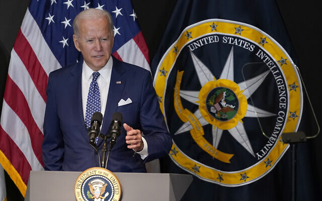 US President Joe Biden speaks during a visit to the Office of the Director of National Intelligence in McLean, Virginia, July 27, 2021. (Susan Walsh/AP)