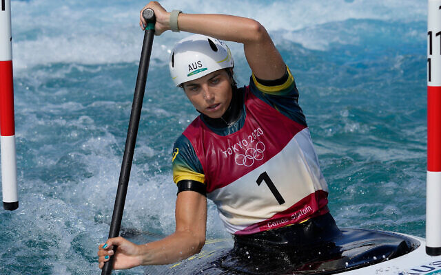 Jessica Fox of Australia competes in the Women's C1 of the Canoe Slalom at the 2020 Summer Olympics, on July 29, 2021, in Tokyo, Japan. (AP Photo/Kirsty Wigglesworth)