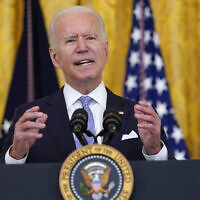 US President Joe Biden speaks about COVID-19 vaccine requirements for federal workers in the East Room of the White House in Washington, Thursday, July 29, 2021. (AP Photo/Susan Walsh)