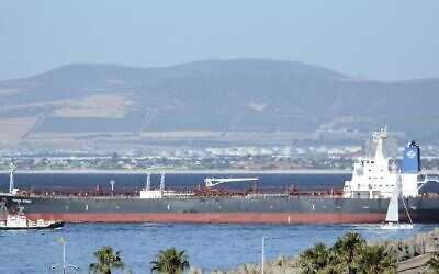 This Jan. 2, 2016 photo shows the Liberian-flagged oil tanker Mercer Street off Cape Town, South Africa (Johan Victor via AP)