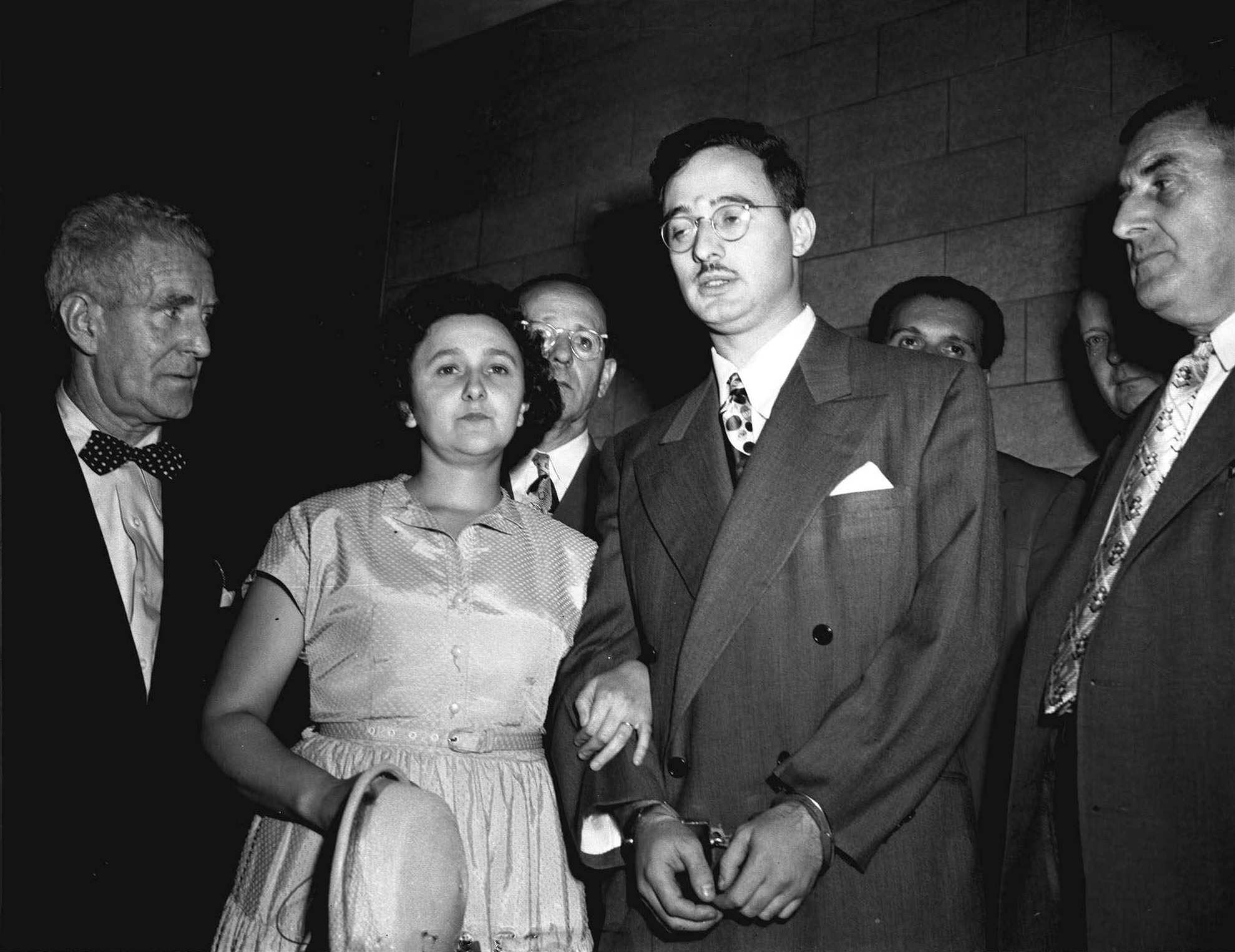 Ethel and Julius Rosenberg, center, are shown during their trial for espionage in New York in 1951. (AP Photo, File)