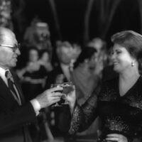 Prime Minister Menachem Begin (L) Egyptian First Lady Jehan Sadat at a dinner in the Dan Carmel Hotel, Haifa in September 1979 (GPO Photo Archive/Yaacov Sa'ar)
