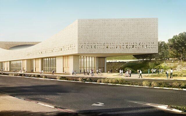 David Geffen Auditorium, glass curtain exterior at new NLI campus (Simulated image: Herzog de Meuron, Mann-Shinar Architects / Courtesy)