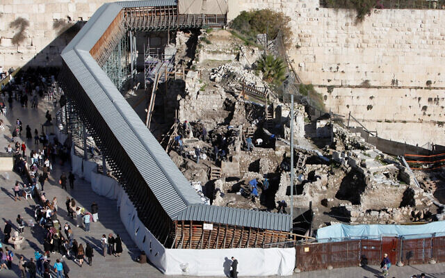 Israel Antiquities Authority workers seen working under the Mughrabi bridge leading to the Al-Aqsa Mosque in the Old City of Jerusalem, December 31 2012. (Sliman Khader/Flash90)