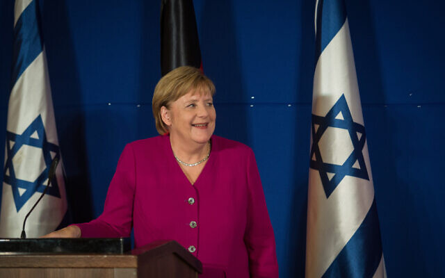 German chancellor Angela Merkel during a joint press conference with then-prime minister Benjamin Netanyahu (not seen) at the King David Hotel in Jerusalem on October 4, 2018. (Hadas Parush/Flash90)
