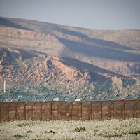 View of the border fence between Israel and Jordan in the Jordan Valley in the West Bank, on February 13, 2019. (Yonatan Sindel/Flash90)
