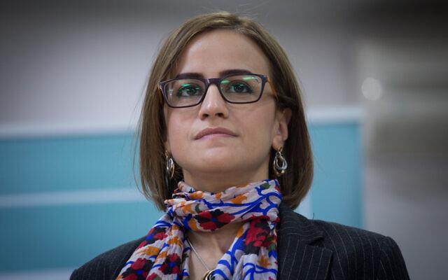 Then Balad MK Heba Yazbak speaks during a press conference in Tel Aviv, February 23, 2021. (Miriam Alster/Flash90)