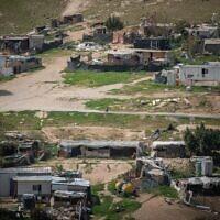View of the Bedouin village Khan al-Ahmar in the West Bank on March 21, 2021. (Yonatan Sindel/Flash90)