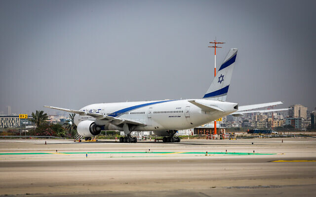 An El Al plane is seen parked at Ben Gurion Airport near Tel Aviv, April 18, 2021. (Yossi Aloni/Flash90)