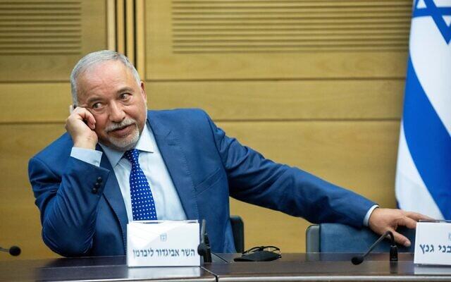 Finance Minister Avigdor Liberman at the Knesset on June 13, 2021. (Yonatan Sindel/Flash90)