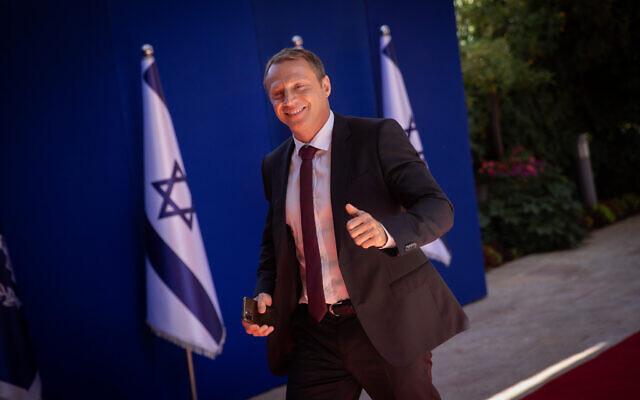 Tourism Minister Yoel Razvozov arrives to the President's Residence in Jerusalem, on June 14, 2021. (Yonatan Sindel/Flash90)