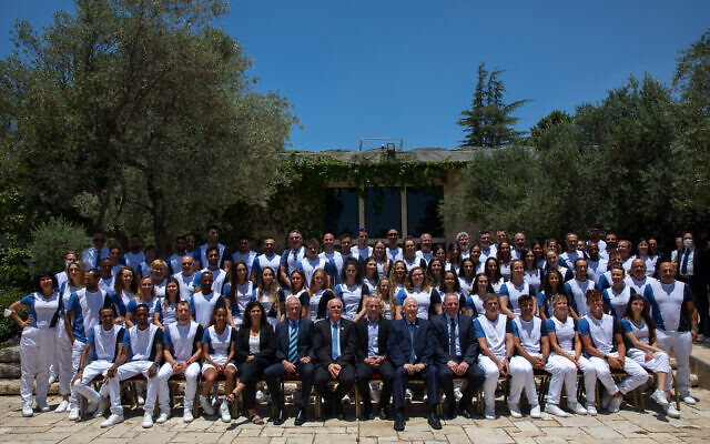 Then-president Reuven Rivlin hosts members of the Israeli Olympic delegation competing in the Tokyo 2020 Games at the President's Residence in Jerusalem, on June 23, 2021. (Olivier Fitoussi/Flash90)