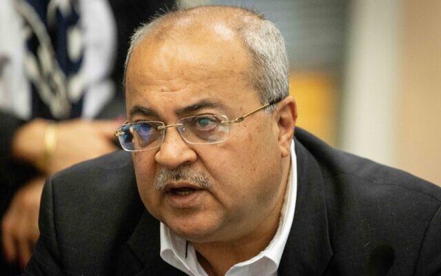 Joint List MK Ahmad Tibi at a Knesset Finance Committee meeting on June 23, 2021. (Yonatan Sindel/Flash90)