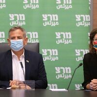 Health Minister Nitzan Horowitz and Environmental Protection Minister Tamar Zandberg attend a Meretz faction meeting at the Knesset on June 28, 2021. (Yonatan Sindel/Flash90)