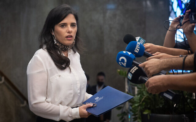 Interior Minister Ayelet Shaked arrives at a cabinet meeting at the Prime Minister's Office in Jerusalem on July 4, 2021. (Yonatan Sindel/Flash90)