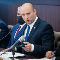 Prime Minister Naftali Bennett leads the weekly cabinet meeting at the Prime Minister's Office in Jerusalem on July 4, 2021. (Yonatan Sindel/Flash90)