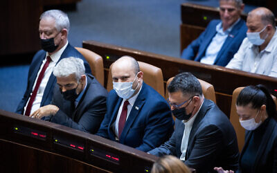 Coalition leaders at a plenum session in the assembly hall of the Knesset in Jerusalem during a debate on the Palestinian family reunification law, on July 6, 2021 (Yonatan Sindel/Flash90)