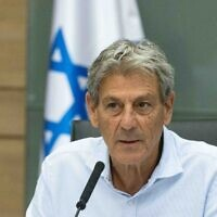 Ram Ben-Barak leads a Defense and Foreign Affairs Committee meeting at the Knesset in Jerusalem, July 5, 2021 (Yonatan Sindel/Flash90)