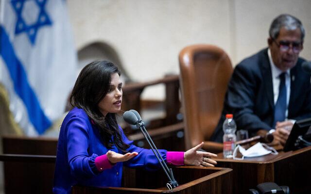 Interior Minister Ayelet Shaked addresses the Knesset on July 6, 2021. {Yonatan Sindel/Flash90)