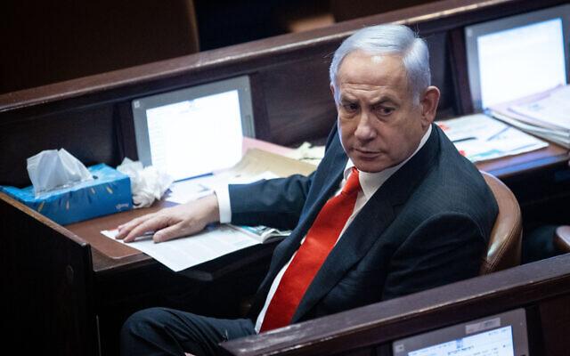 Opposition Leader Benjamin Netanyahu at the Knesset on July 6, 2021. (Yonatan Sindel/Flash90)