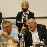 MKs David Amsalem and David Bitan of Likud at the Arrangements Committee meeting at the Knesset in Jerusalem, on July 5, 2021 (Yonatan Sindel/Flash90)